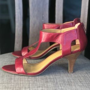 Red leather sandals low heel sandals comfy